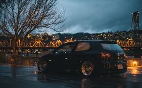 Picture clouds, night, bridge, the city, lights, river, tree, Volkswagen, wheel, Golf