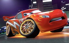 Picture city, lights, tuning, building, Lightning, race, the movie, McQueen, races, Cars 2, Cars 2