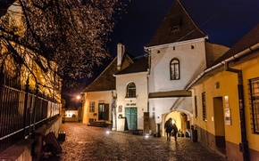 Picture city, light, night, old, romania, sibiu