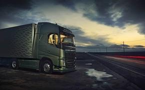 Picture the sky, track, volvo 2013, euro truck simulator 2, trailer.