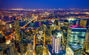 Picture night, lights, river, home, New York, skyscrapers, panorama, USA, bridges, megapolis, the view from the …