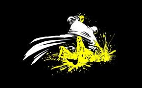 Picture white, yellow, black, minimalism, Sin City, comic