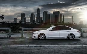 Picture BMW, City, Sun, White, Side, 328i, F30, Alpine, Wheels, VMR