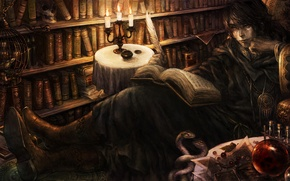 Wallpaper dragon crown, book, books, candles, feather, library, poet
