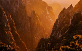 Picture light, mountains, nature, heat, rocks