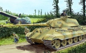 Picture figure, soldiers, the Germans, King tiger, Panzerkampfwagen VI Ausf. B, Tiger II, Royal tiger, glider