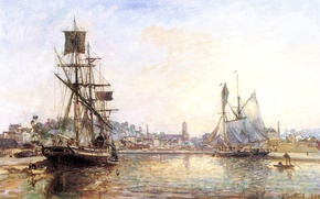 Picture picture, painting, painting, The Honfleur Port