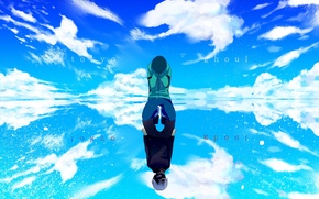 Picture the sky, water, clouds, reflection, anime, art, guy, tokyo ghoul, Ken kanek, winni