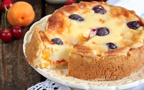 Wallpaper cherry, pie, cakes, apricot