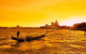 Wallpaper sea, gondola, boat, channel, Italy, glow, Venice