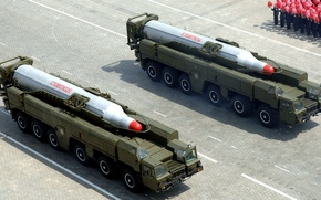 "Picture parade, two, complex, average, range, The DPRK, ballistic, ""Musudan"", BM-25, Pyongyang, missiles"