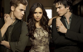 Wallpaper Stefan, Elena, Damon, the vampire diaries