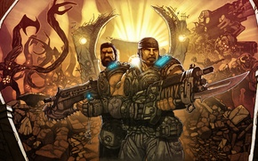 Wallpaper marcus fenix, Dominic Santiago, Mark 2 Lancer Assault Rifle, Mark 1 Lancer Assault Rifle, gears ...