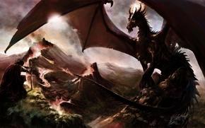 Picture mountains, rocks, dragon, sword, art, lava, male
