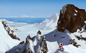 Picture Sunny, sea, people, mountains, snow, art, snowboard