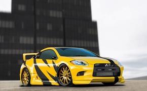 Picture Mitsubishi, Eclipse, Yellow, Tuning