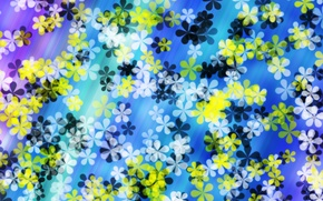 Picture flowers, abstraction, yellow, white