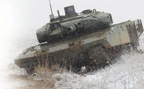 Picture water, snow, tank, combat, promising, main, Altay, Turkish