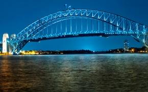 Wallpaper bridge, Sydney, lights, Australia, night, lights, promenade, river