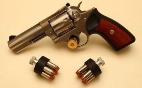 Picture revolver, clips, Ruger, revolver, 357 Magnum, GP100