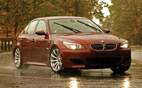 Picture road, red, markup, BMW, BMW, red, Blik, side view, road, speed, E60, 5 Series