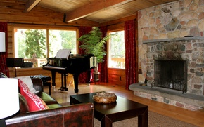 Picture design, style, interior, piano, fireplace, living room