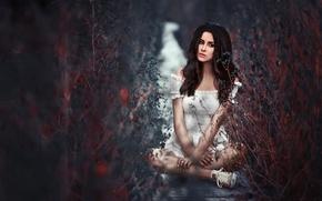 Picture sadness, grass, look, dress, Julia Pushman