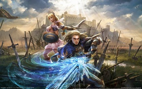Picture weapons, castle, magic, the game, swords, warriors, game wallpapers, Soulcalibur: Lost Swords