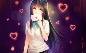 Picture letter, girl, anime, art, hearts, schoolgirl, tidsean, forms