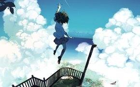 Picture the sky, girl, clouds, the city, the plane, jump, bird, height, home, anime, art, nanathy, …