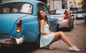 Picture auto, girl, machine, street, sneakers, dress, brunette, legs