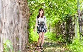 Picture kawaii, metal, girl, flower, long hair, dress, trees, brown hair, beautiful, model, street, fence, asian, …
