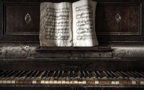 Picture notes, music, piano