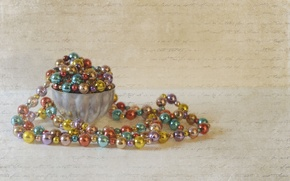 Picture background, texture, beads, decoration, vase, Christmas