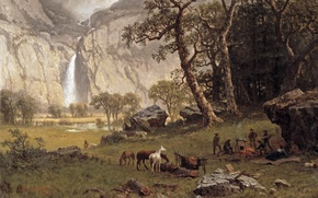 Picture picture, painting, painting, 1864, Albert Bierstadt, the Yosemite Fall, Cho-looke