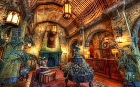 Picture web, hdr, fireplace, the hotel, the hotel, suitcases