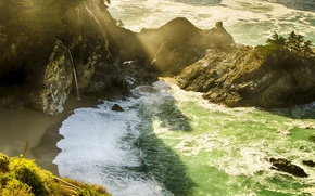 Picture beach, rays, light, rocks, waterfall, California, USА, Monterey County, Mcway Falls