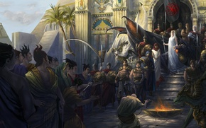 Picture people, the crowd, dragons, art, game of thrones, Daenerys, Mother of Dragons, Daenerys, offering, Meyrin, …