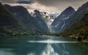 Picture mountains, lake, Norway, Norway, Stryn, Jostedalsbreen national Park, The Briksdal Glacier, Jostedalsbreen National Park, Stryn, …