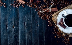Picture Board, coffee, candy, Cup, drink, cinnamon, burlap, saucer, grain, napkin, spices, star anise