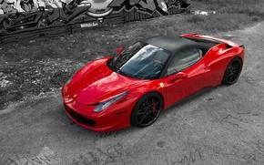 Picture red, reflection, red, ferrari, Ferrari, side view, Italy, 458 italia, aernie drives