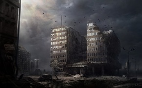 Picture night, the city, Apocalypse, the building, art