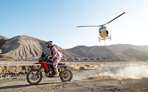 Picture Mountains, Sport, Helicopter, Race, Motorcycle, Racer, Moto, Rally, Dakar