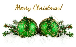 Picture decoration, balls, New Year, Christmas, balls, snow, New Year, decoration, Merry