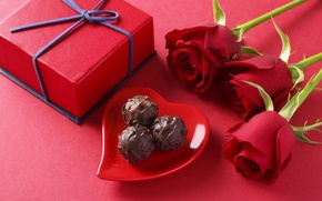 Picture love, gift, romance, chocolate, roses, candy, love, Rose, heart, romantic, chocolate, gift, sweets, Valentines Day