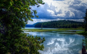 Wallpaper clouds, trees, Oregon, lake, clouds, East Lake, forest, USA