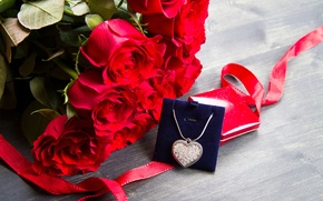 Picture love, gift, roses, love, heart, romantic, Valentine's Day