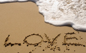 Picture sand, sea, beach, foam, the inscription, wave, love