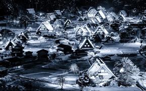 Picture winter, snow, night, lights, home, Japan, valley, the island of Honshu, Gokayama, Shirakawa-go
