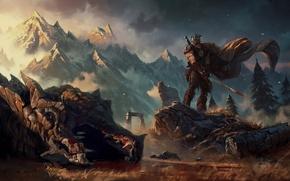 Picture Dragon, Art, Skyrim, The Elder Scrolls, Skyrim, Grzegorz Rutkowski